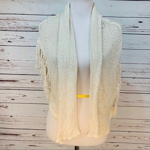 {BEBE} Fringe Sleeve Knit Shrug